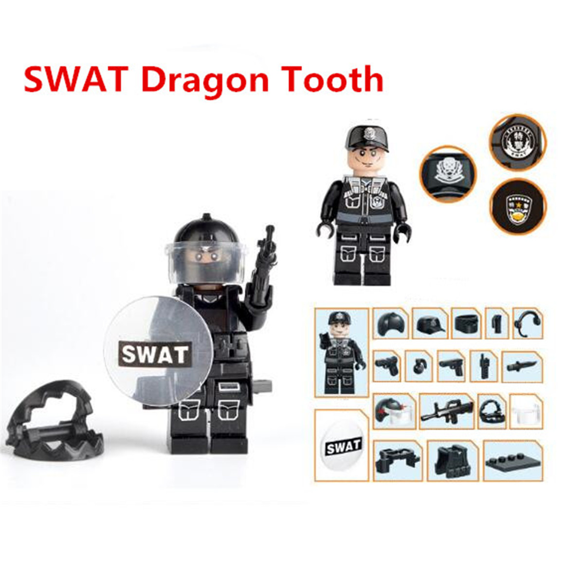 12pcs//Set militärische spezielle SWAT Polizei Gebäude Ziegel Zahlen Spielzeuge