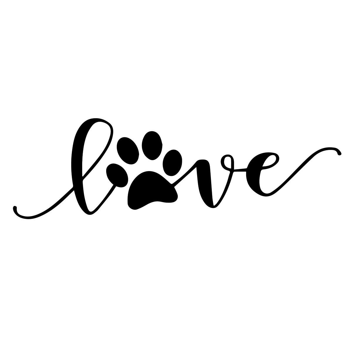 Download Love Dog Paw Print Sticker Car Window Motorcycle Vinyl ...