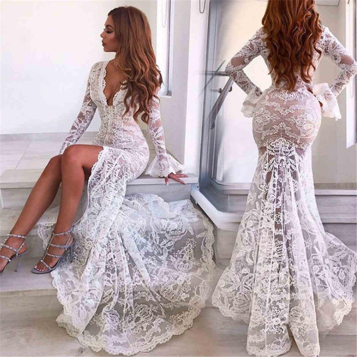 White Lace Mermaid Gown: Women Deep V-neck Long Sleeve White Lace Mermaid Wedding