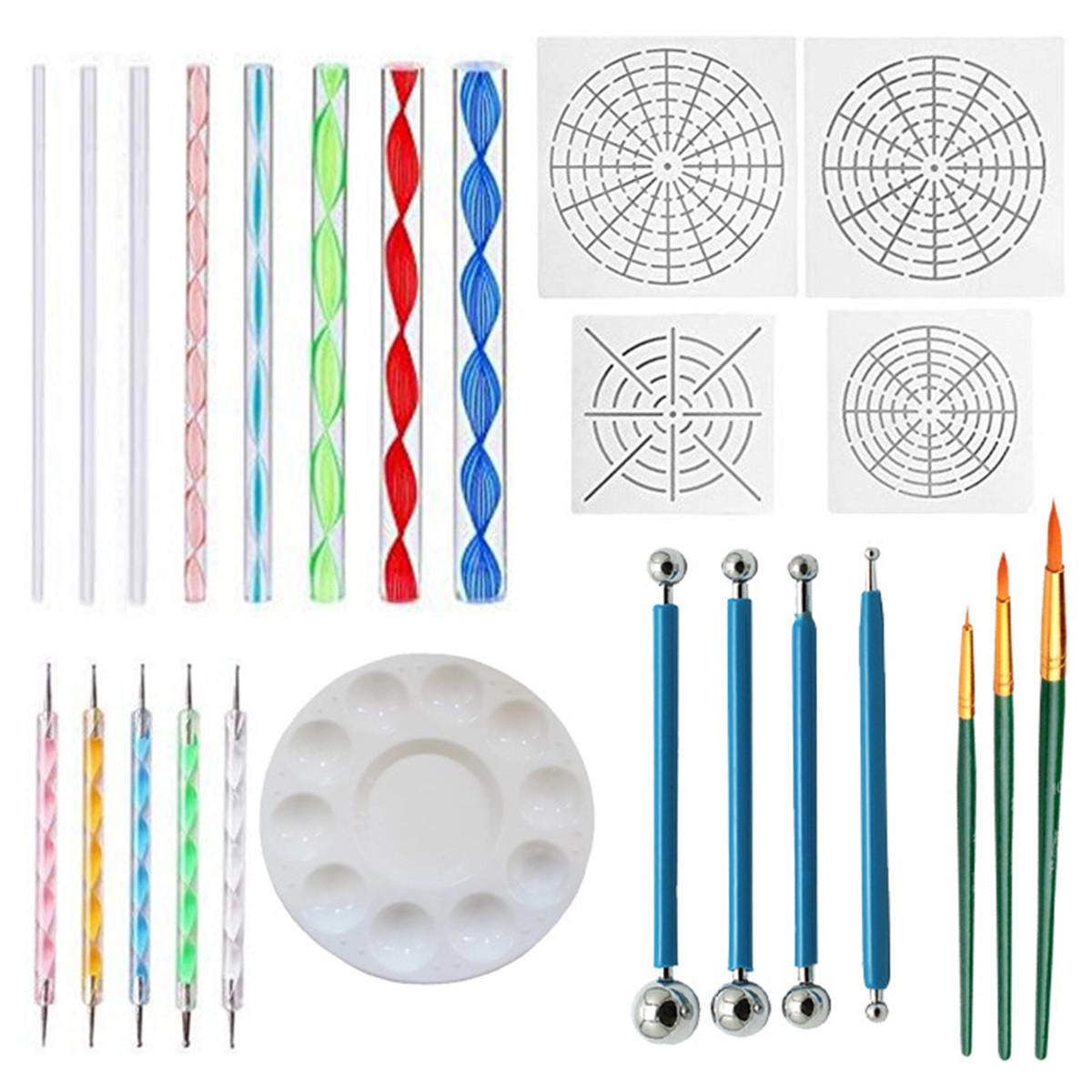 25Pcs Mandala Dotting Tools Rock Painting Kit Dot Nail Art Pen Paint Stencil Set
