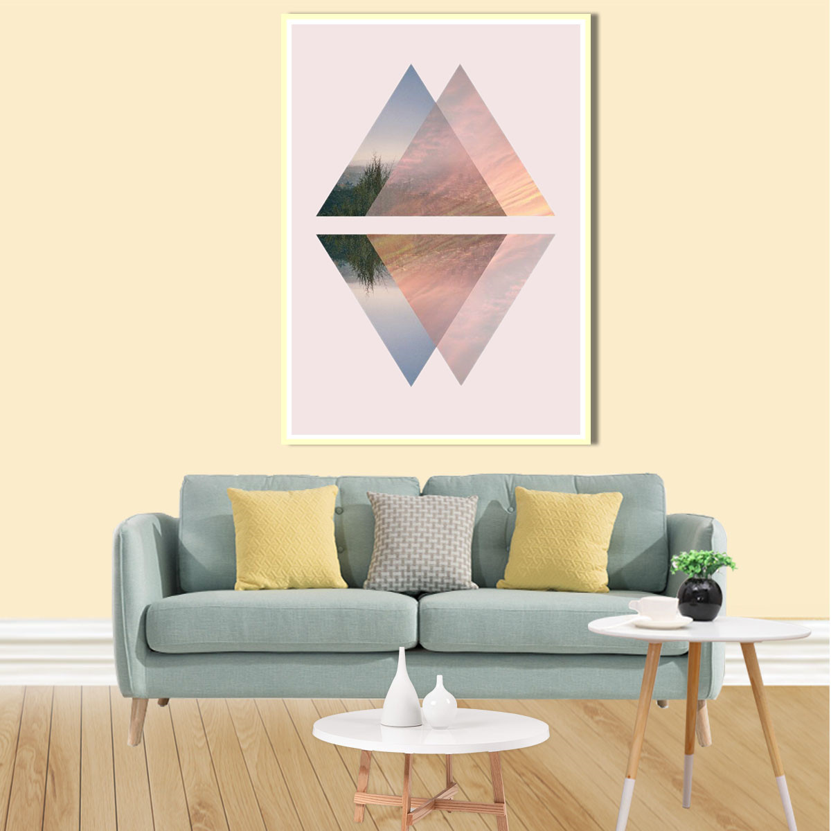 Canvas Poster Print Geometric Triangle Polygon Picture ...