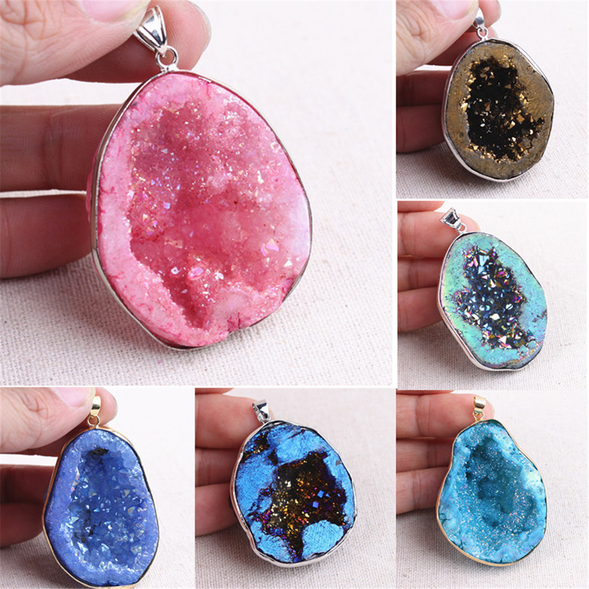 16x19 mm 8mm thickness Sterling Silver Electroplated Drusy Natural Stone Pendant Druzy Pendant Natural White Agate Raw Gemstone Pendant
