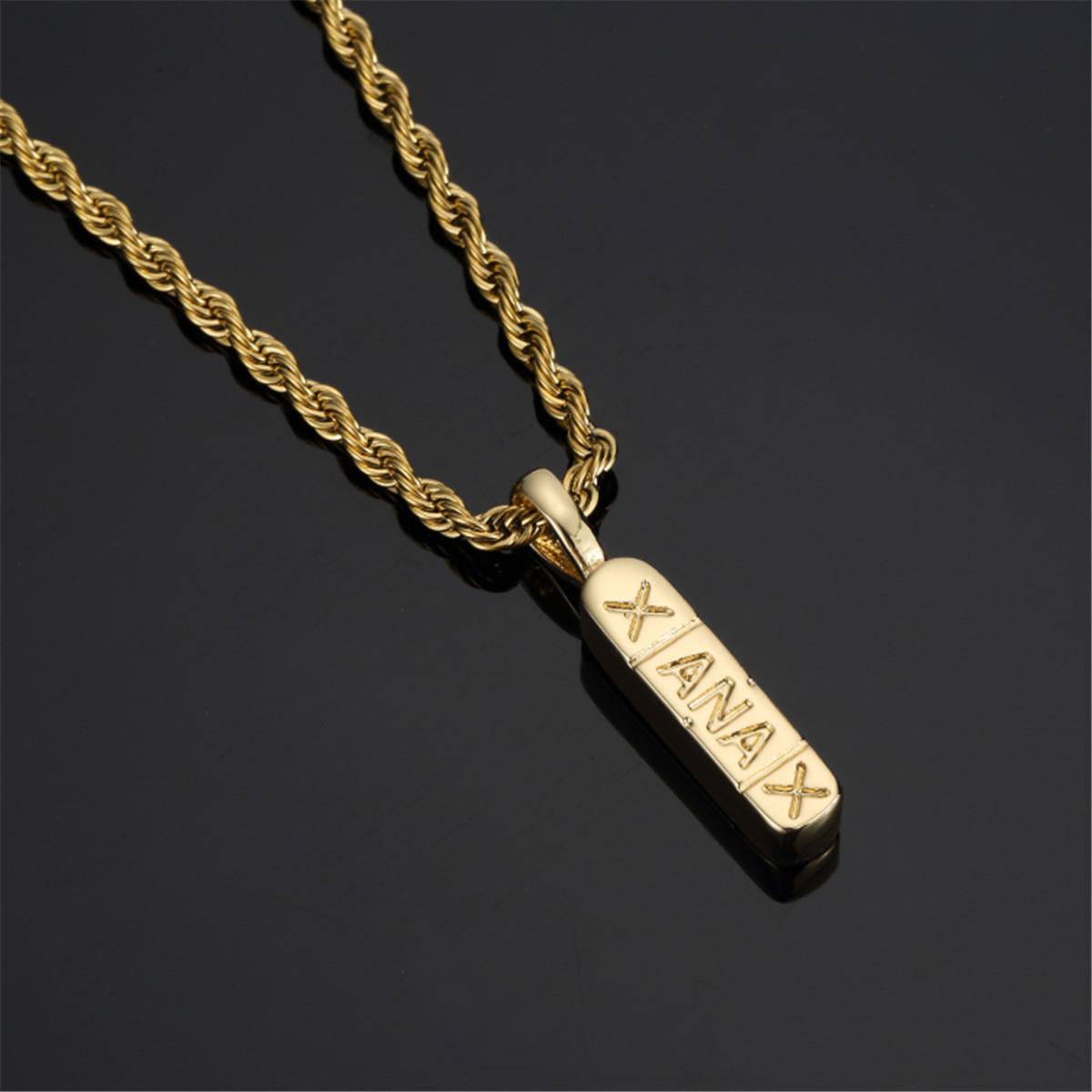 81d7da8eeeb16 Details about 18k Gold Silver Plated Xanax Pendant Hip Hop 24