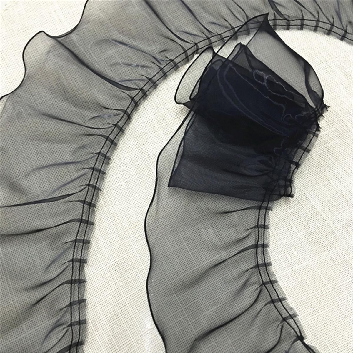 2 Yards Pleated Lace Trim Organza Ruffle DIY Wedding Dress Sewing Hem Crafts