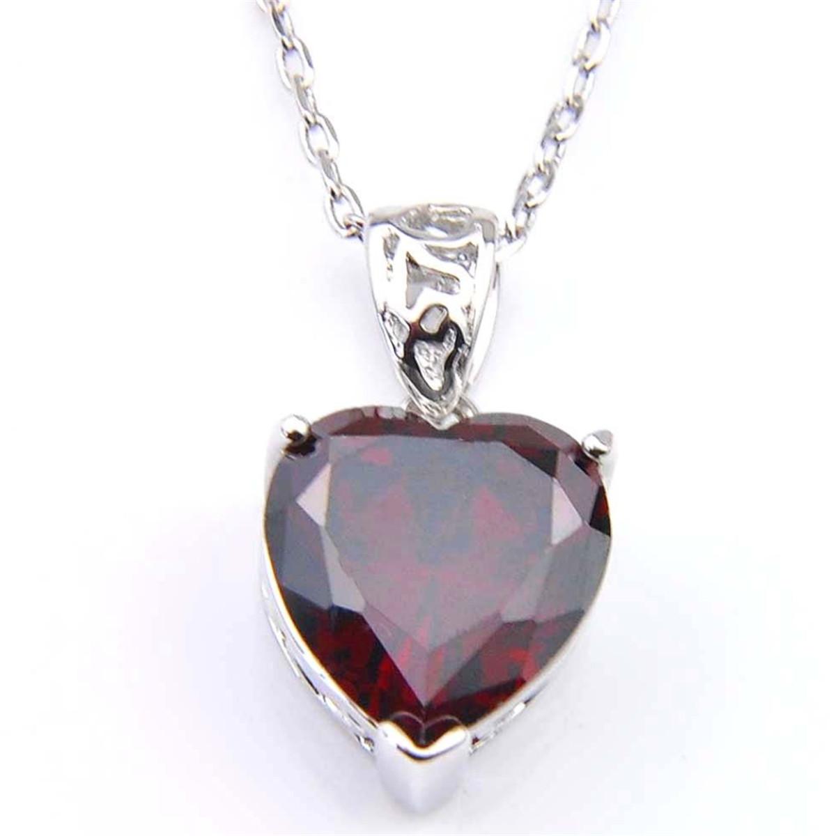 Véritable cœur naturel feu Pierre grenat rouge collier plaqué platine pendentif