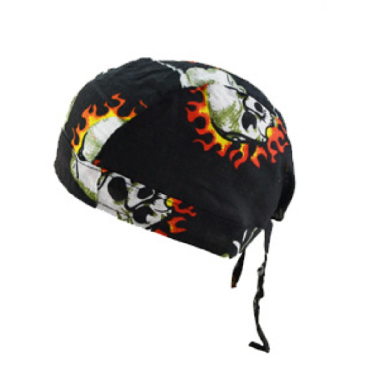 Cotton Biker Skull Cap Motorcycle Bandana Head Wrap Du Doo Do Rag Black Hat New