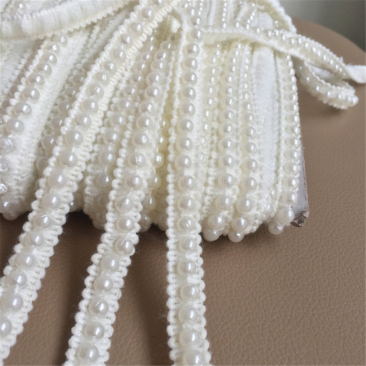 2yds Knitting Wool Pearl Beaded Lace Trim Edge Ribbon Fabric Sewing 1.2cm Width