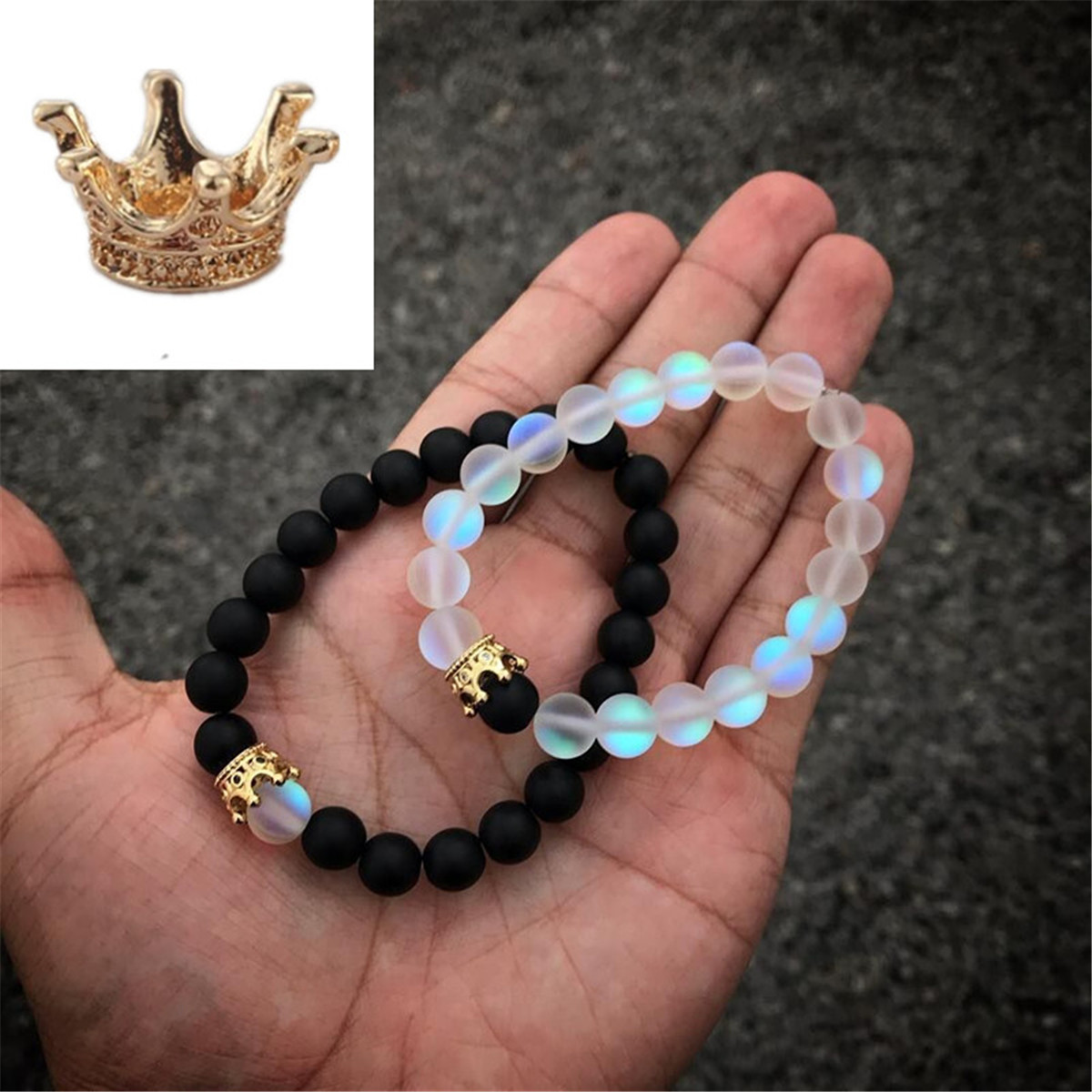 LMXXV 12MM Her King His Queen Set of 2 Couple Matching Black Silicone Rubber Bracelet Wristband for Him Her