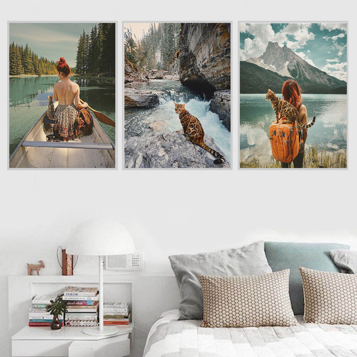 Details about cat travel mountain canvas painting poster living room bedroom wall art decor