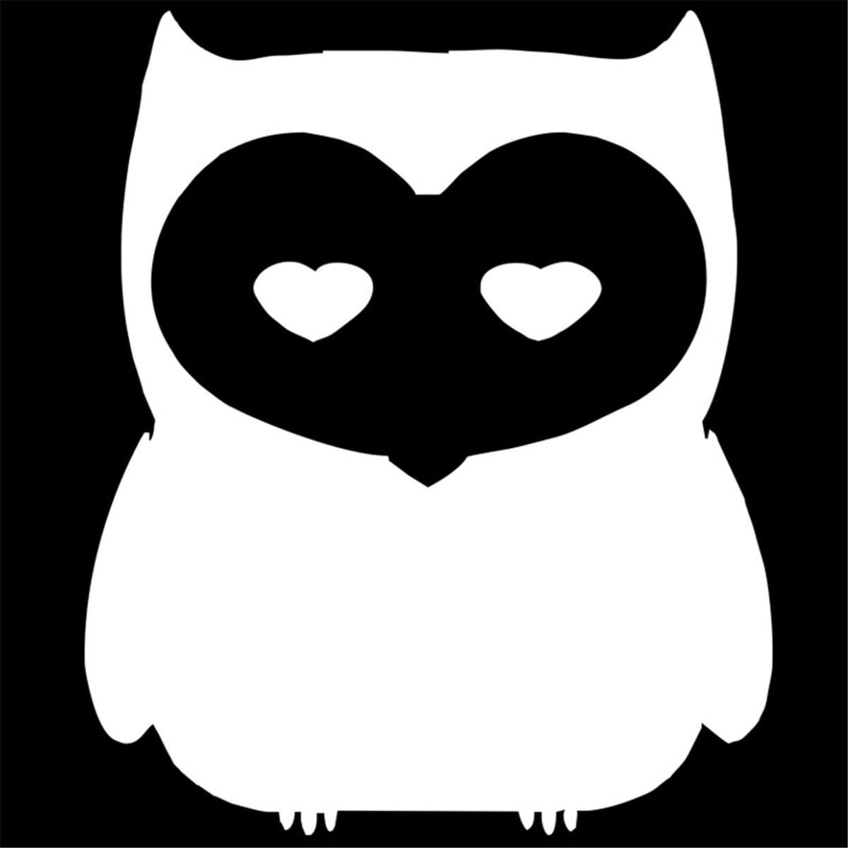 Owl Heart Shape Eyes Sticker Car Window Bumper Laptop