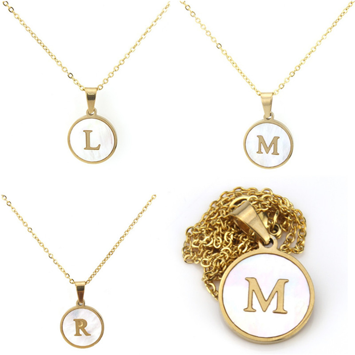 Silver Stainless Steel Alphabet Initial Letter Pendant Necklace Gifts A-Z