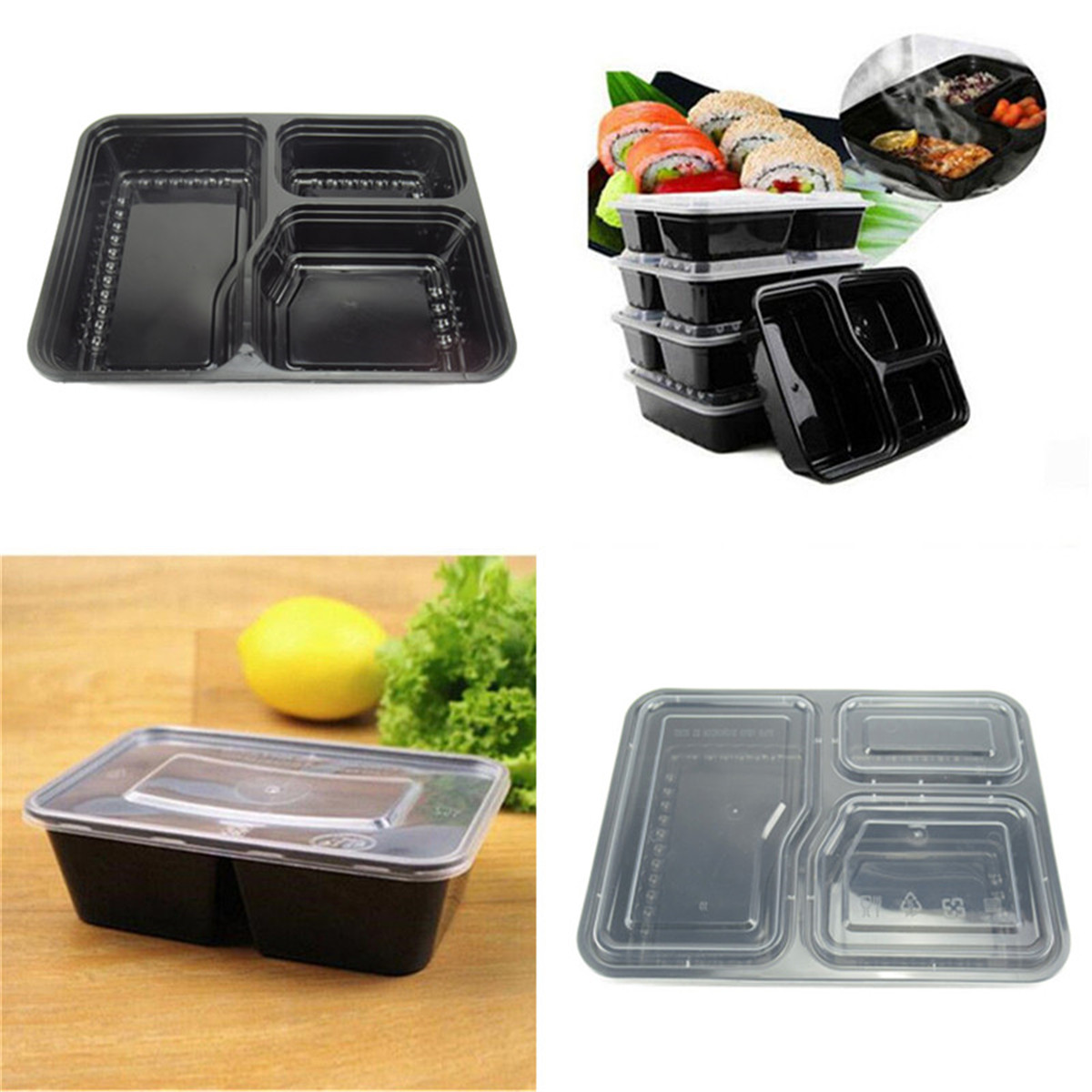 Details About 1 2 5pcs Meal Prep Food Containers Compartment Lunch Box Microwavable With Lids